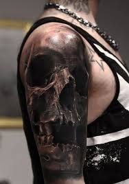 men half sleeve awesome brilliant 3d realistic skull tattoo