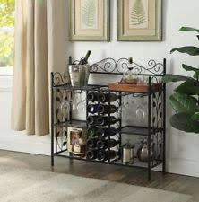 Bakers Rack With Wine Glass Holder Metal Bakers Rack With Wine Storage Antique Brass Finish Ebay
