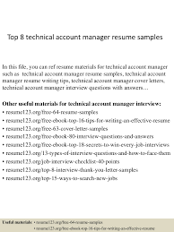 Account Manager Sample Resume Top8technicalaccountmanagerresumesamples 150402080818 Conversion Gate01 Thumbnail 4 Jpg Cb 1427980150