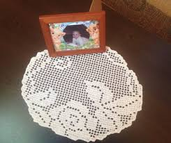 handmade crochet doily round tablecloth beige floral pattern