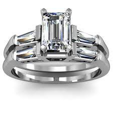 emerald cut wedding set engagement set emerald cut baguette engagement ring wedding set