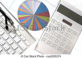 bureau des statistiques bureau calculatrice statistiques éléments clavier photo de stock
