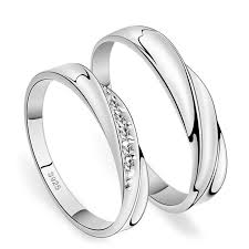 silver wedding rings simple wave promise rings for couples 925 sterling silver wedding