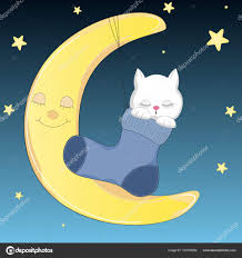 cat who sleeps on the moon in sock stock vector andrei