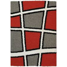 Red White And Black Rug Maxy Home Shag Geometric Tile Design Red Black White Grey Area Rug