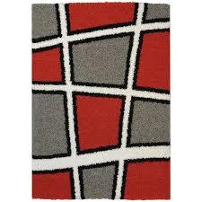 Red Black White Area Rugs Maxy Home Shag Geometric Tile Design Red Black White Grey Area Rug