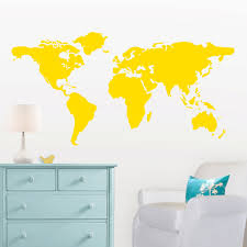 large world map wall decal with dots and stars to mark zoom