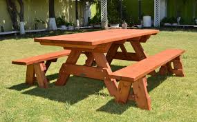 Park Bench And Table Rustic Picnic Table With Benches Home Table Decoration