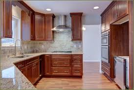 wood prestige plain door chestnut kitchen cabinets with crown