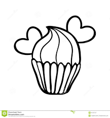 hand drawing cupcake with hearts stock vector image 54962643