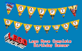 printable instant download lego movie happy birthday banner this
