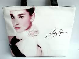 audrey hepburn signature fashion wide tote shoulder bag for sale