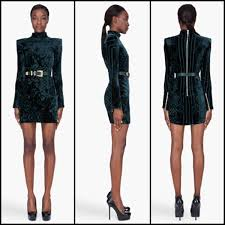 balmain dark green embroidered velvet dress cococosmo