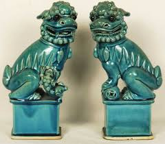 turquoise foo dogs for sale of blue porcelain foo dogs