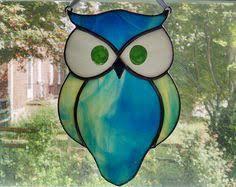 stained glass owl suncatcher bird window decor garden