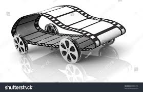 one car made four film reels stock illustration 99335375