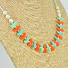 orange beaded necklace images Buy retro orange and blue glass beaded necklace at smallest planet jpg