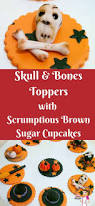 halloween skull and bones cupcake toppers with scrumptious brown