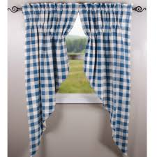 Blue Buffalo Check Curtains Prairie Swags To Accent Your Room And Window