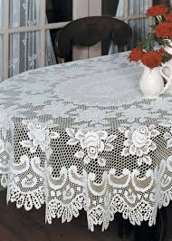 classic traditional roses lace tablecloth oval ecru 52 x 72