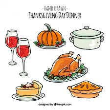 pack of thanksgiving drawings vector free