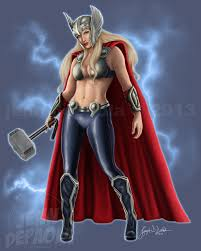 femme thor digital pinup painting by jenn depaola www