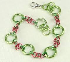 handmade chain bracelet images Chain maille bracelet handmade chain watermelon pink green spring JPG