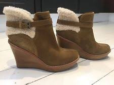 ugg s anais shoes chestnut ugg australia wedge ankle 100 leather boots for ebay