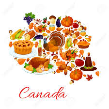 thanksgiving celebration symbols in canada map vector
