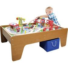 wooden activity table for 100 piece cityscape train set and wooden activity table walmart com