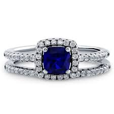 halo engagement ring settings sterling silver cushion simulated blue sapphire cubic zirconia cz