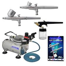 new 3 airbrush u0026 compressor kit dual action spray air brush set