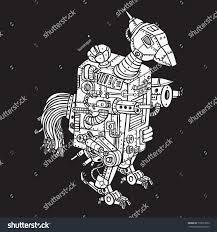 doodle with bird rooster war robotic doodle black stock vector 770013022