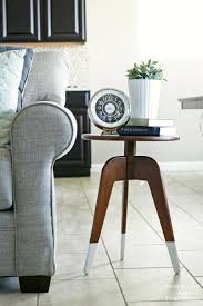 Diy Round End Table by Furniture Beautiful Living Room Design With L Shape White Bed