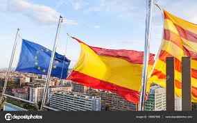catalan spanish european flags over barcelona u2014 stock photo
