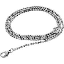 stainless steel link necklace images Box chain thin width steel mens box link necklace chain jpg