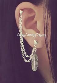 earrings with chain ear cartilage feather cartilage chain earring lobe helix ear cuff jewelry