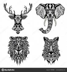 set of patterned heads of lion deer wolf and elephant