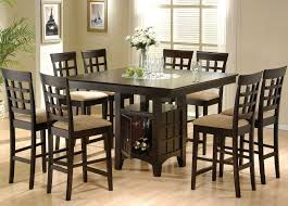 square black wooden dining table with shelf completed by eight