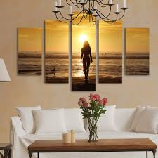 aliexpress com buy 5 panels canvas print beach painting for