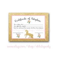 adoption party invitations custom order unicorn adoption certificates certificate of