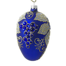 glass easter egg ornaments grapes blown glass easter egg ornament blue matte blown