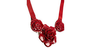 red rose necklace images Lyst cath kidston rose necklace in red jpeg