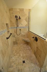 bathroom doorless shower for interesting shower room design cozy travertine tile floor with merola tile wall