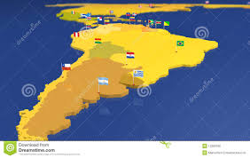 Map Of Sounth America by Map Of South America With National Flags Royalty Free Stock Image