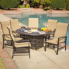 dining room monticello fire pit patio dining table with outdoor set monticello chat sling