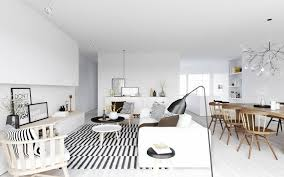 apartment simple living room scandinavian design with stripes