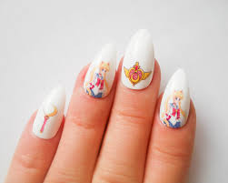 sailor moon stiletto nails fake nails almond nails false