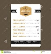hair salon barber shop services list design template stock vector