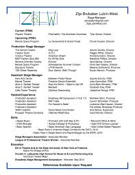 Music Manager Resume Stage Management Resume